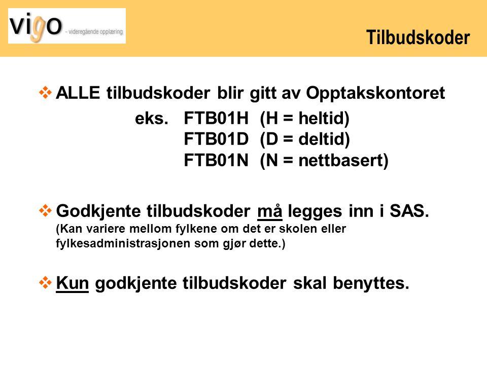 Tilbudskoder ALLE tilbudskoder blir gitt av Opptakskontoret