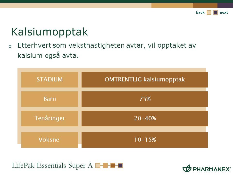 OMTRENTLIG kalsiumopptak