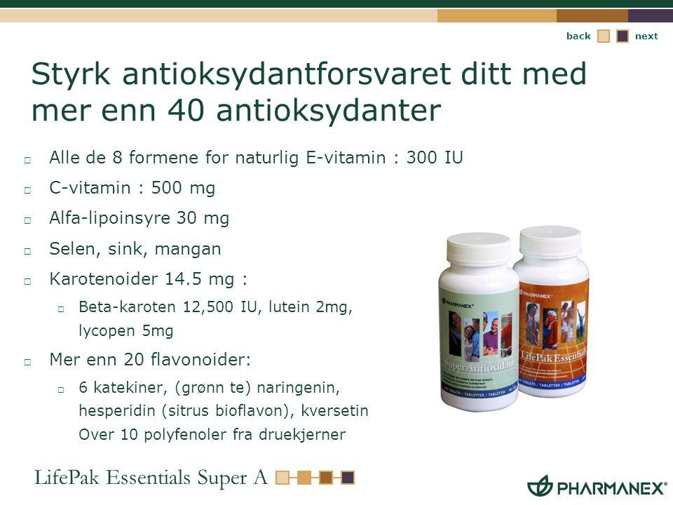Styrk antioksydantforsvaret ditt med mer enn 40 antioksydanter