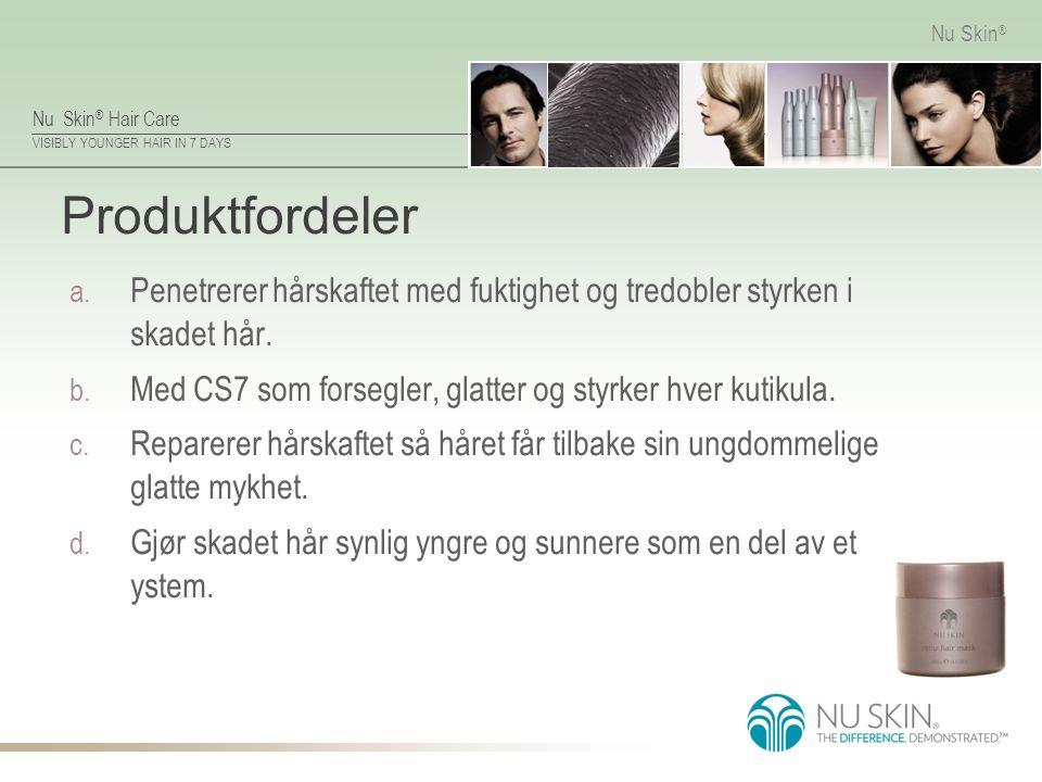 Produktfordeler Penetrerer hårskaftet med fuktighet og tredobler styrken i skadet hår. Med CS7 som forsegler, glatter og styrker hver kutikula.