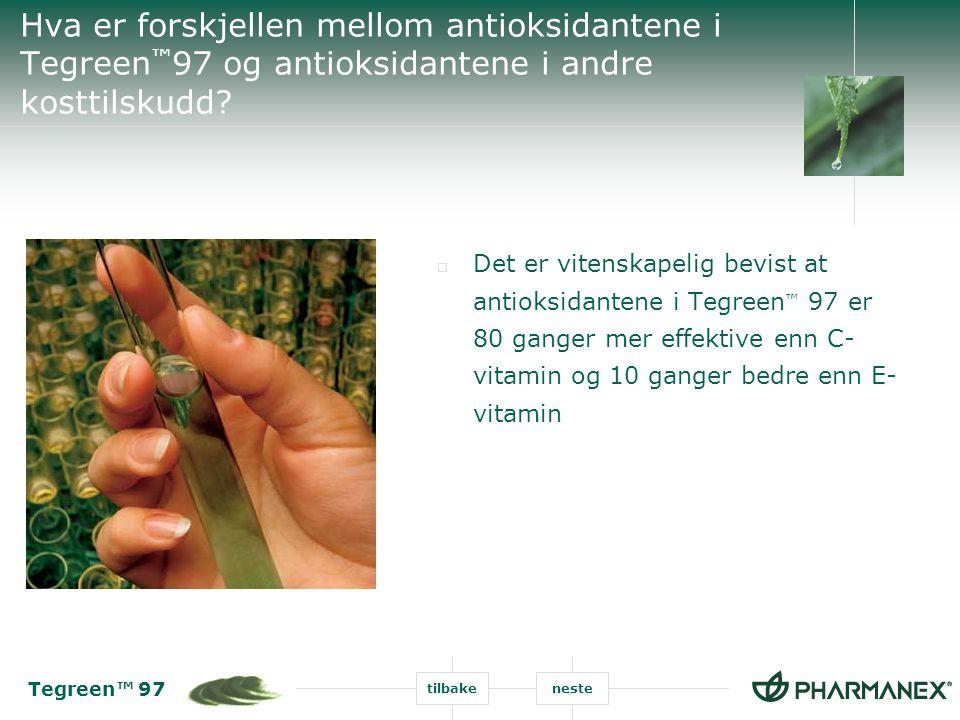 Hva er forskjellen mellom antioksidantene i Tegreen™97 og antioksidantene i andre kosttilskudd