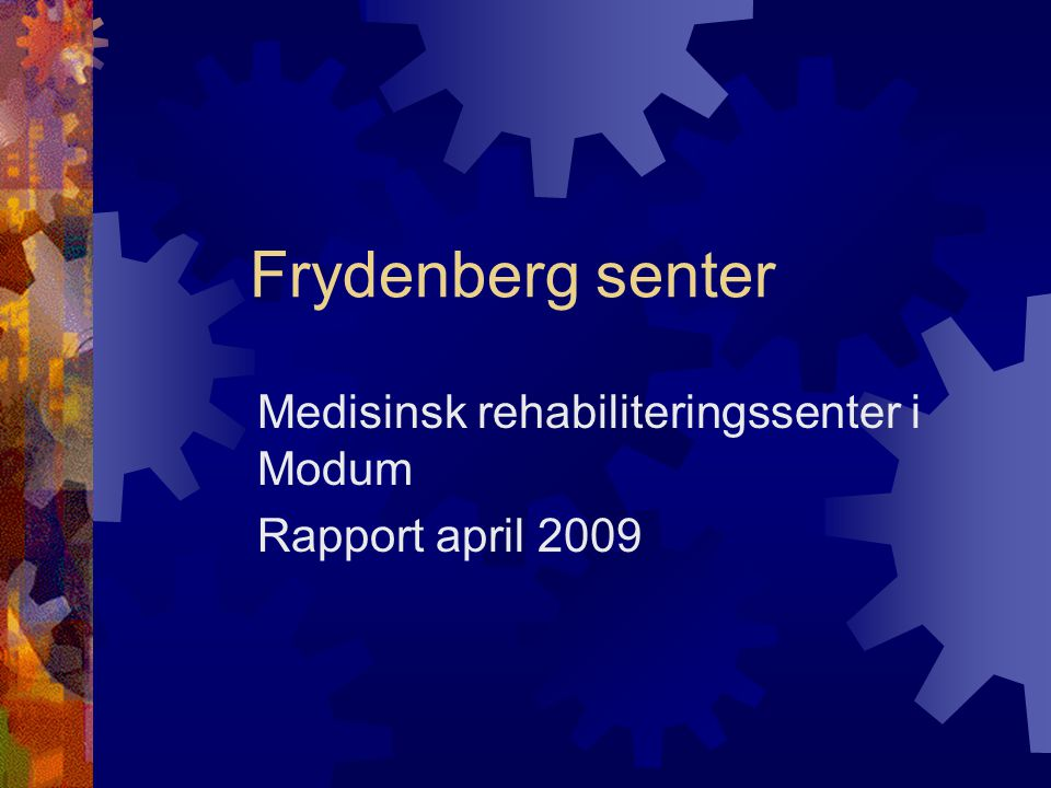 Medisinsk rehabiliteringssenter i Modum Rapport april 2009
