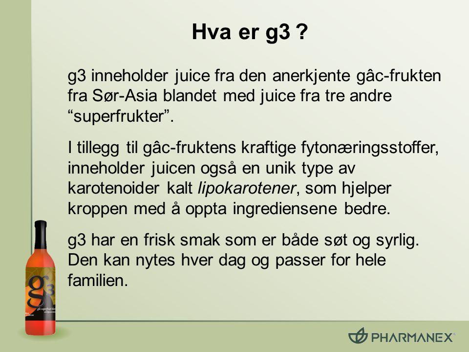 Hva er g3 g3 inneholder juice fra den anerkjente gâc-frukten fra Sør-Asia blandet med juice fra tre andre superfrukter .