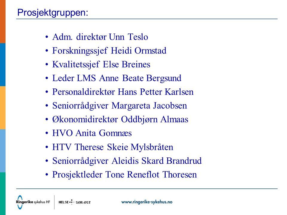 Prosjektgruppen: Adm. direktør Unn Teslo. Forskningssjef Heidi Ormstad. Kvalitetssjef Else Breines.