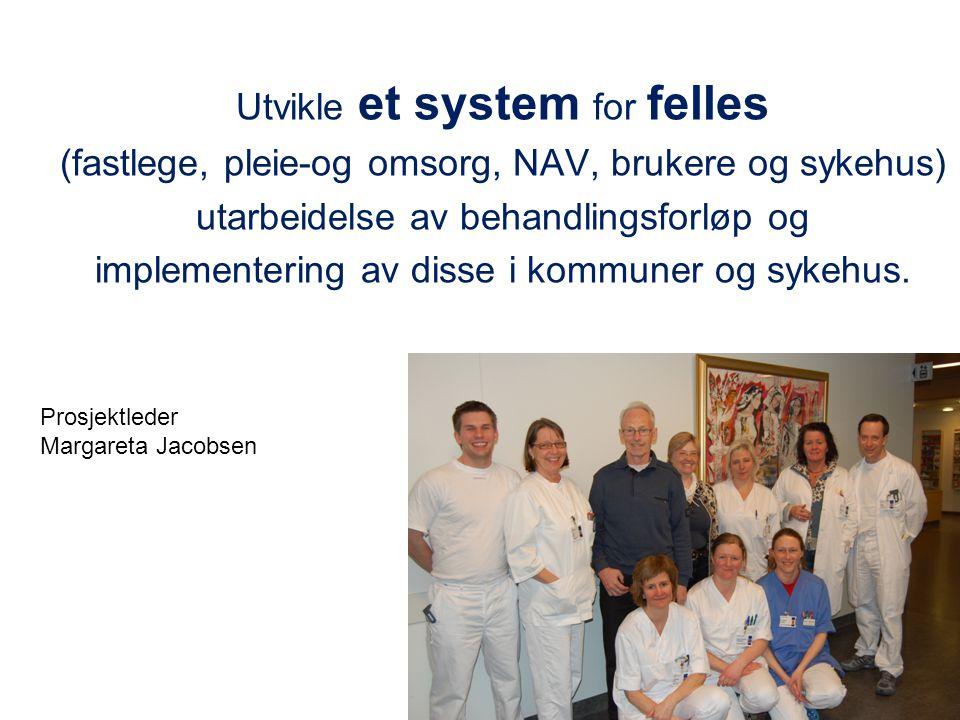 Utvikle et system for felles (fastlege, pleie-og omsorg, NAV, brukere og sykehus) utarbeidelse av behandlingsforløp og implementering av disse i kommuner og sykehus.