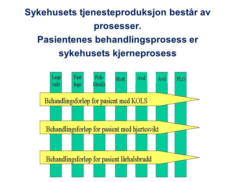 Sykehusets tjenesteproduksjon består av prosesser