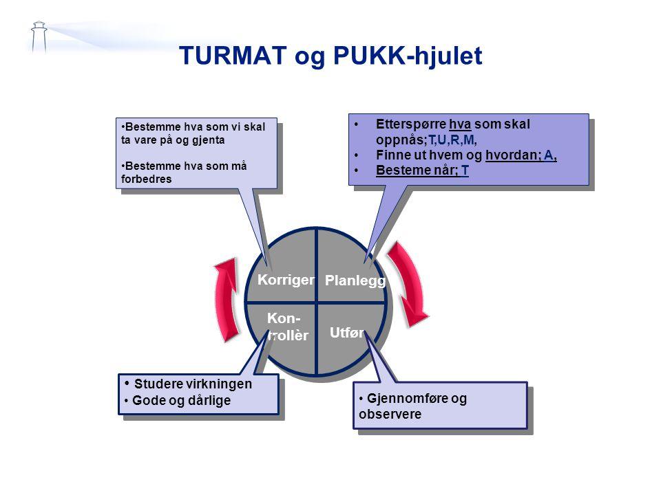 TURMAT og PUKK-hjulet Studere virkningen Korriger Planlegg Kon-