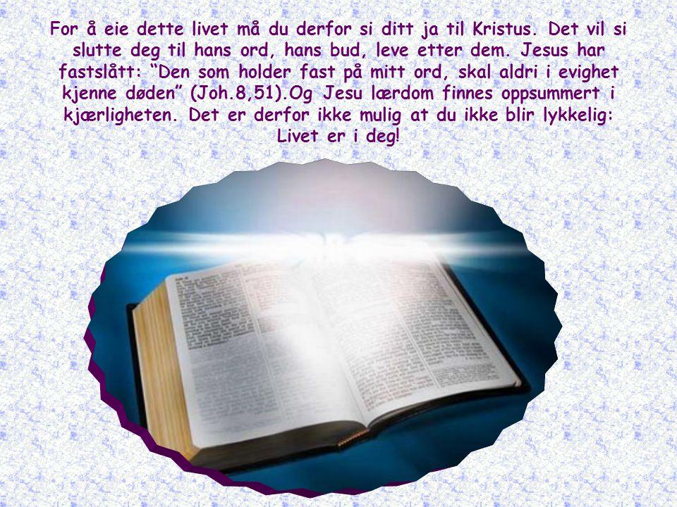 For å eie dette livet må du derfor si ditt ja til Kristus