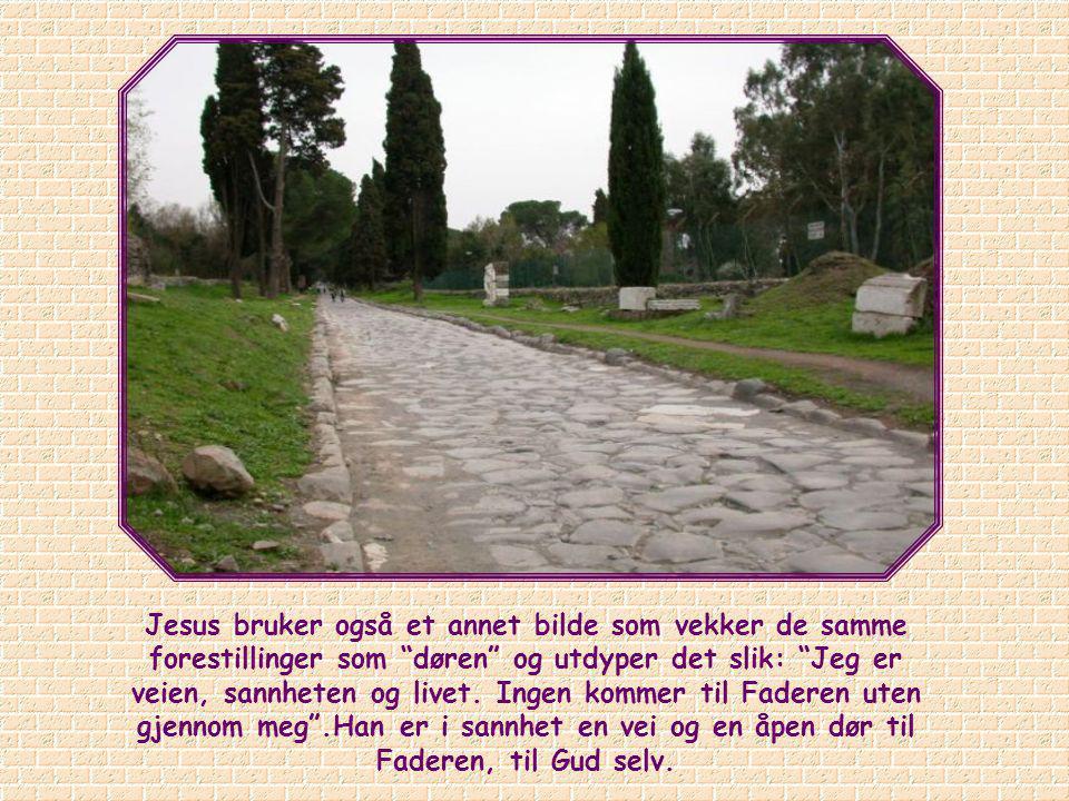 Jesus bruker også et annet bilde som vekker de samme forestillinger som døren og utdyper det slik: Jeg er veien, sannheten og livet.