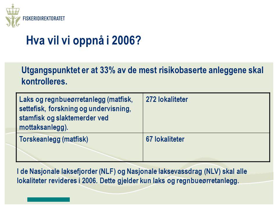 Hva vil vi oppnå i 2006 Utgangspunktet er at 33% av de mest risikobaserte anleggene skal kontrolleres.