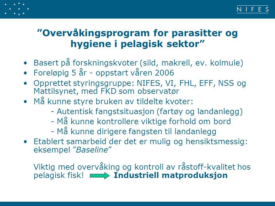 Overvåkingsprogram for parasitter og hygiene i pelagisk sektor