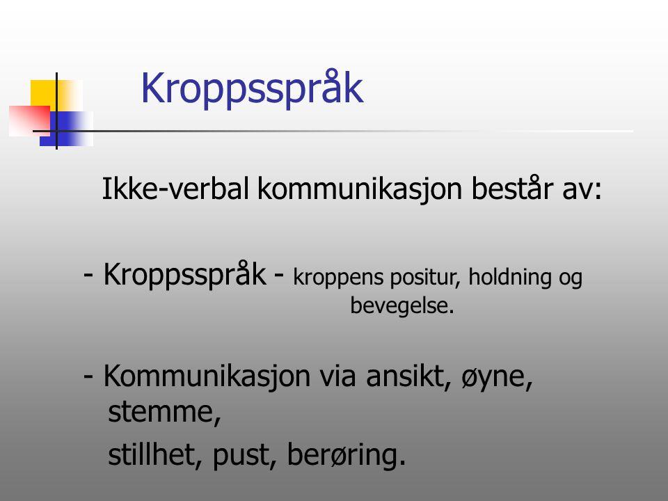 Kroppsspråk Ikke-verbal kommunikasjon består av: