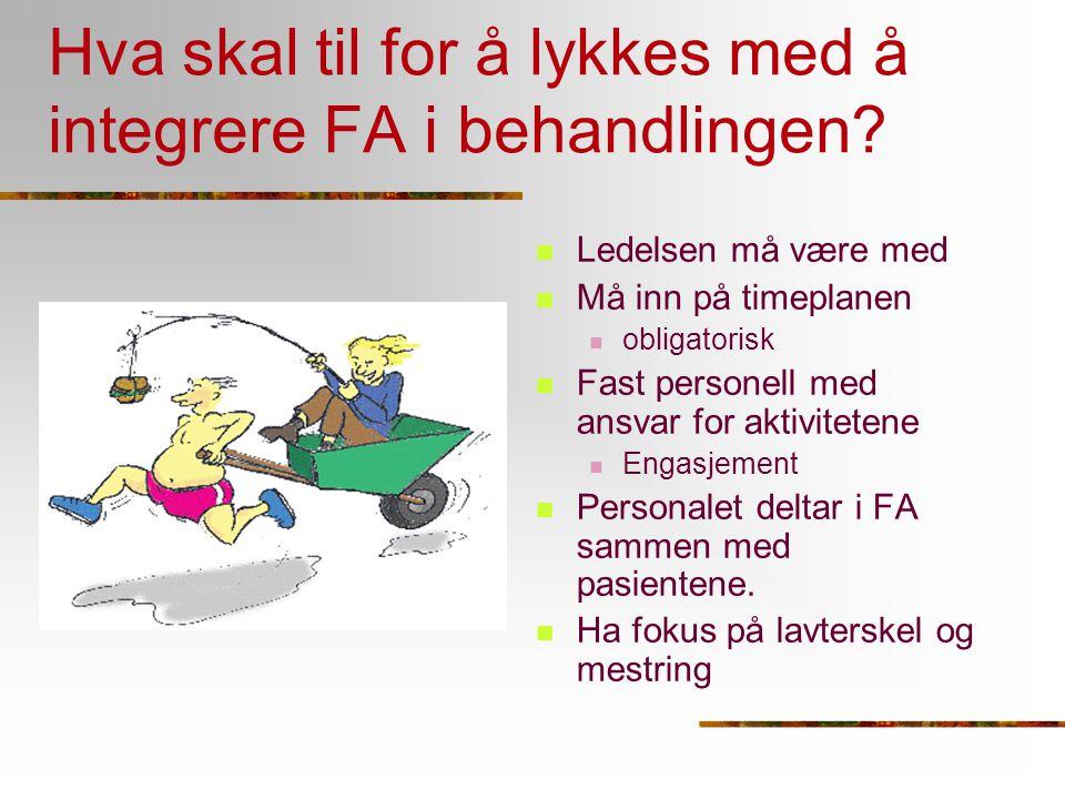 Hva skal til for å lykkes med å integrere FA i behandlingen