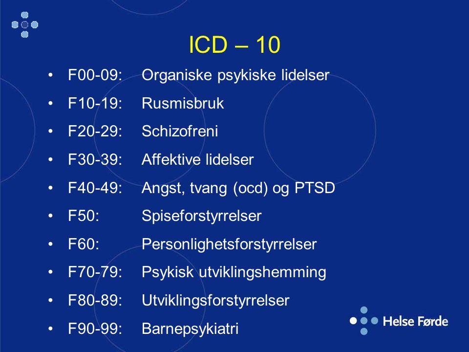 ICD – 10 F00-09: Organiske psykiske lidelser F10-19: Rusmisbruk