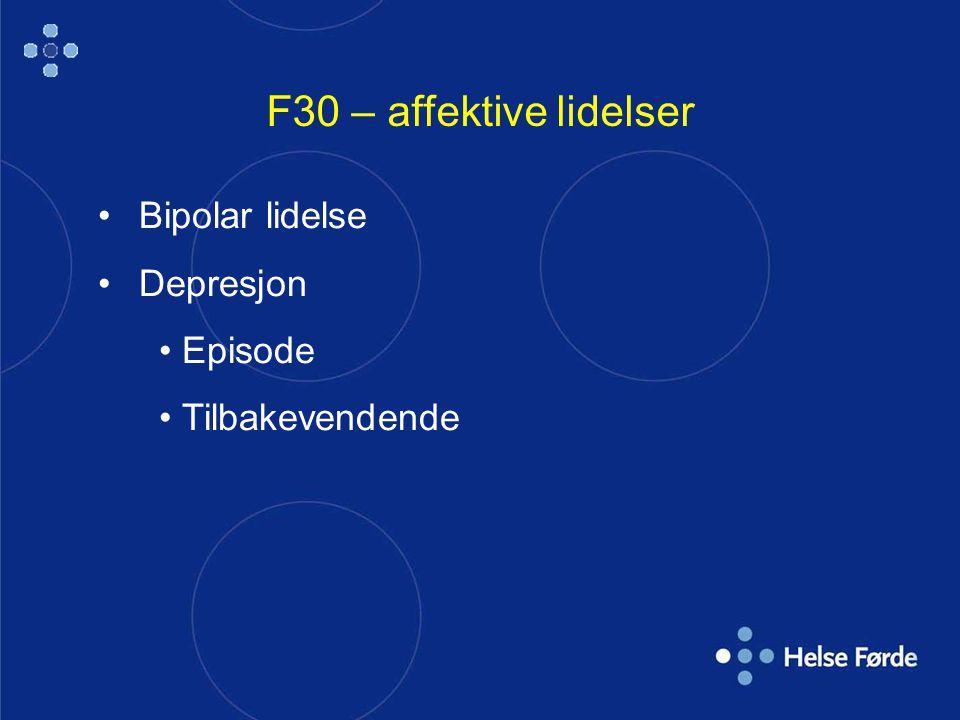 F30 – affektive lidelser Bipolar lidelse Depresjon Episode