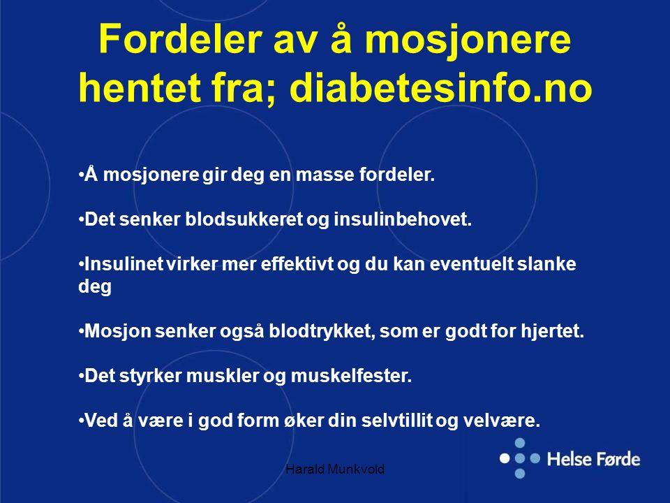Fordeler av å mosjonere hentet fra; diabetesinfo.no