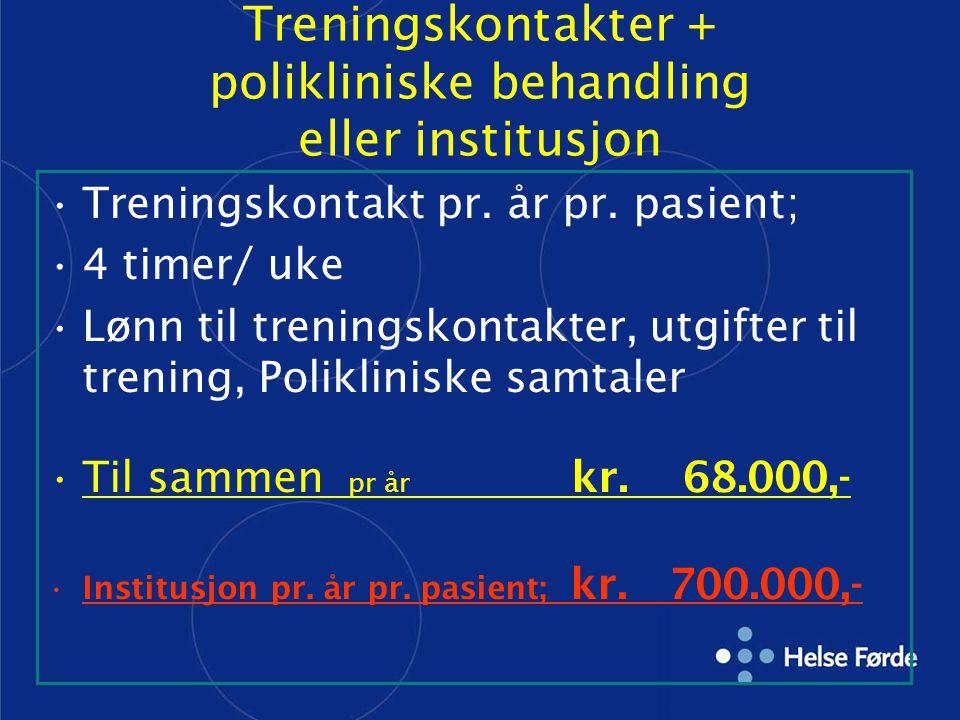 Treningskontakter + polikliniske behandling eller institusjon