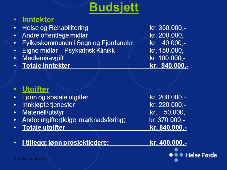Budsjett Inntekter Utgifter Helse og Rehabilitering kr. 350.000,-