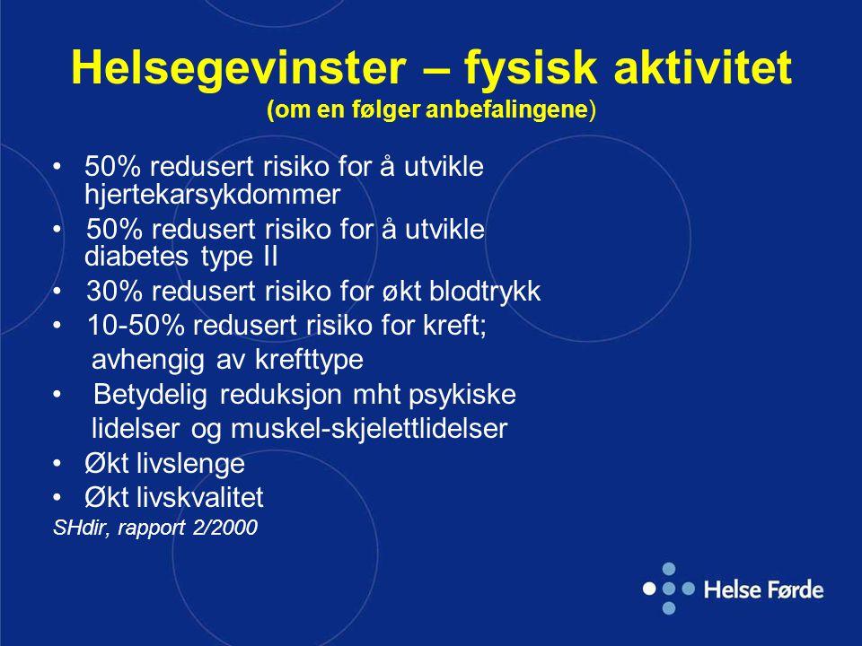 Helsegevinster – fysisk aktivitet (om en følger anbefalingene)