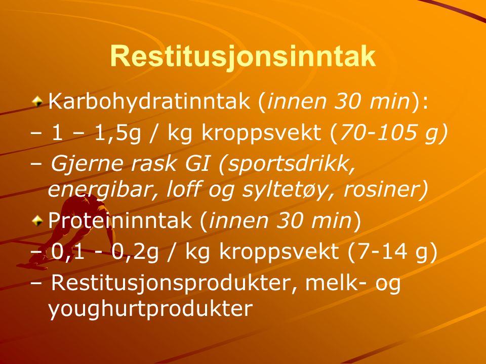 Restitusjonsinntak Karbohydratinntak (innen 30 min):