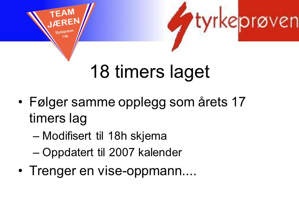 18 timers laget TEAM JÆREN