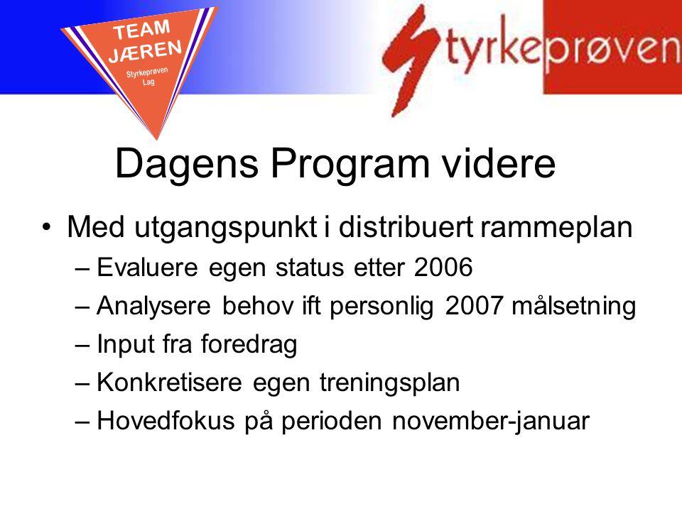 Dagens Program videre TEAM JÆREN