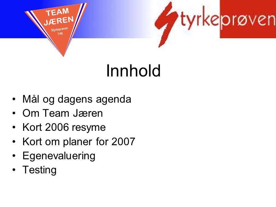 Innhold TEAM JÆREN Mål og dagens agenda Om Team Jæren Kort 2006 resyme
