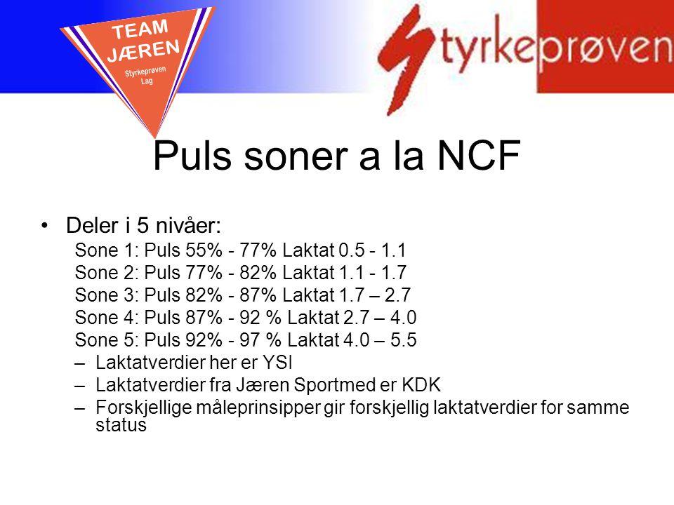 Puls soner a la NCF TEAM JÆREN Deler i 5 nivåer: