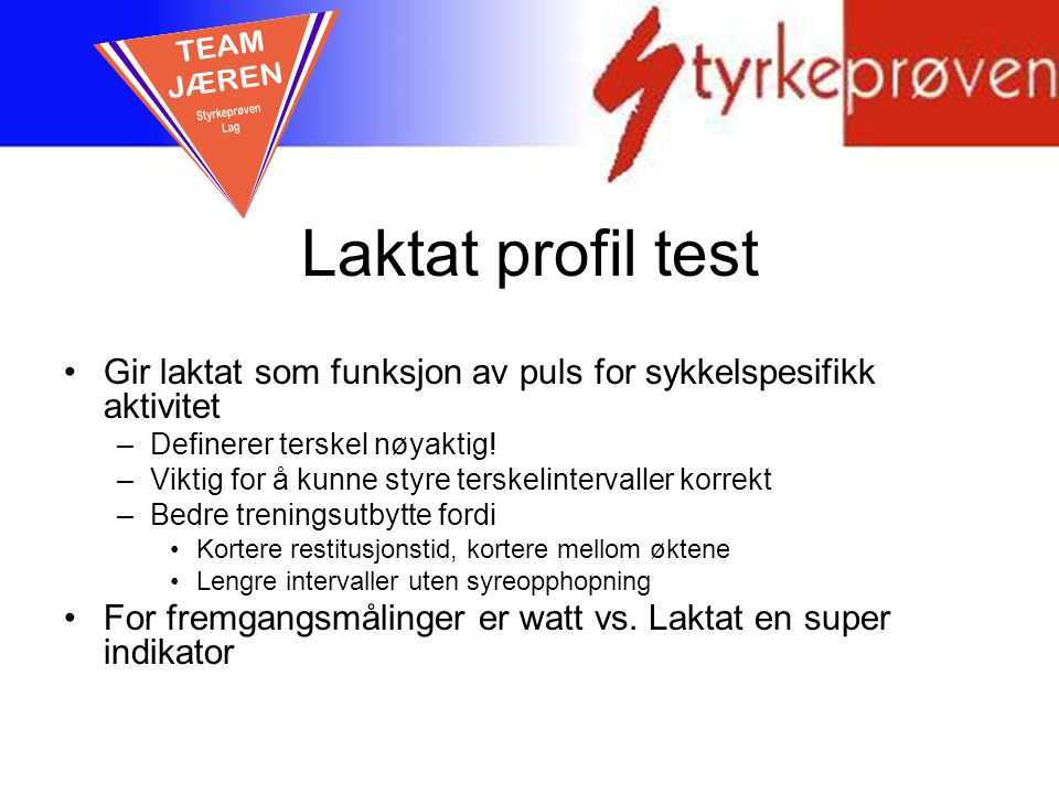 Laktat profil test TEAM JÆREN