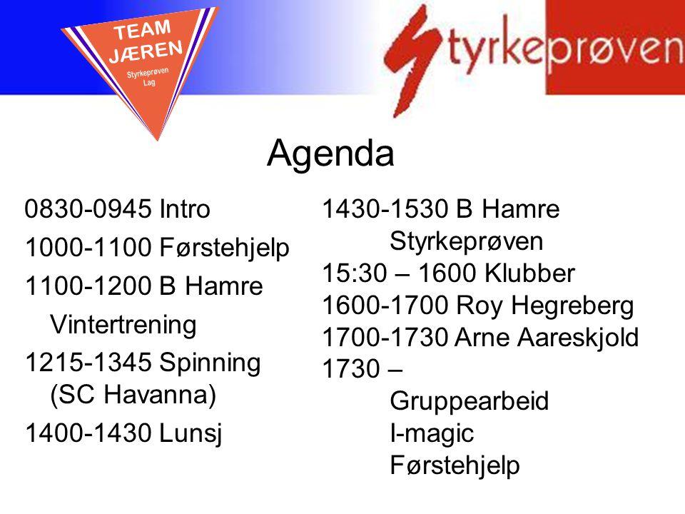Agenda TEAM JÆREN 0830-0945 Intro 1000-1100 Førstehjelp