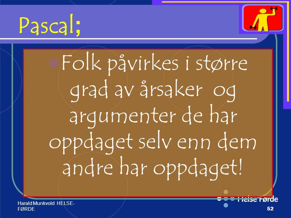 Pascal; Folk påvirkes i større grad av årsaker og argumenter de har oppdaget selv enn dem andre har oppdaget!