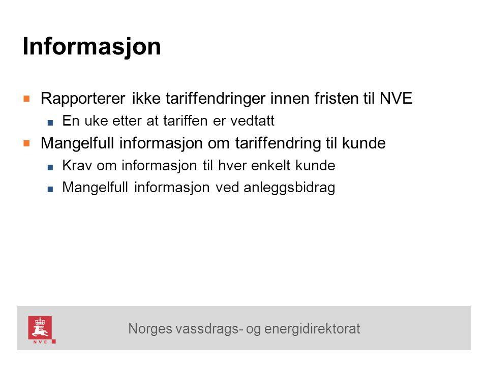 Informasjon Rapporterer ikke tariffendringer innen fristen til NVE