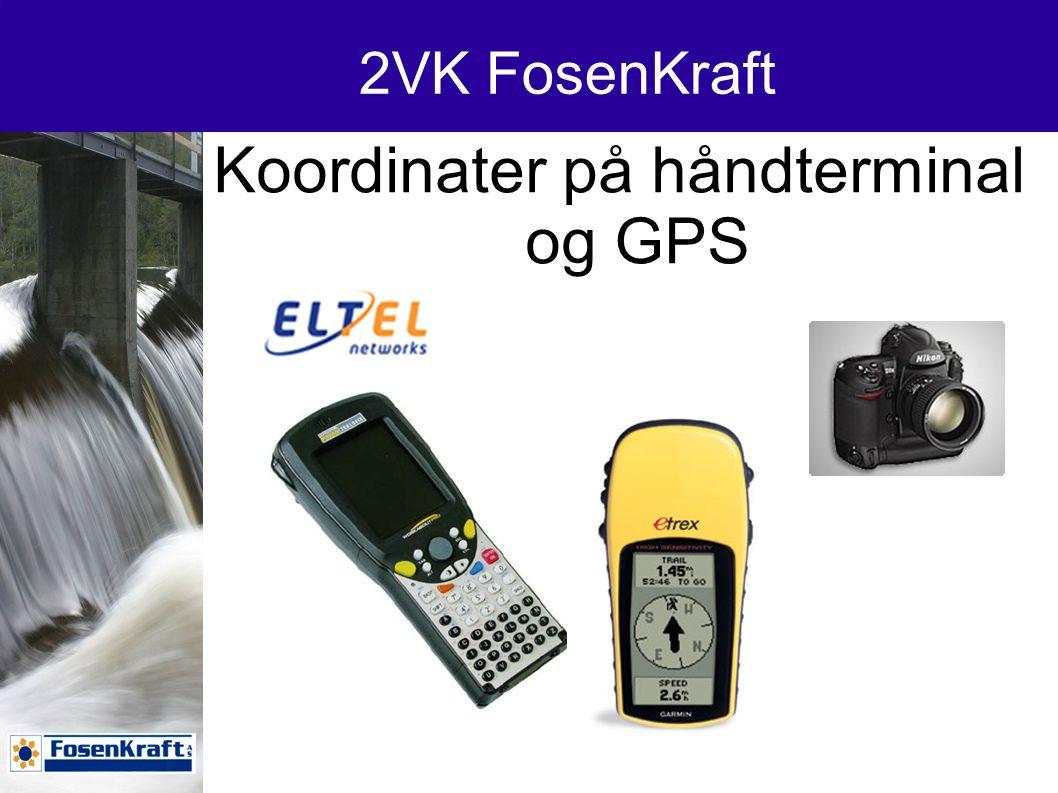 Koordinater på håndterminal og GPS