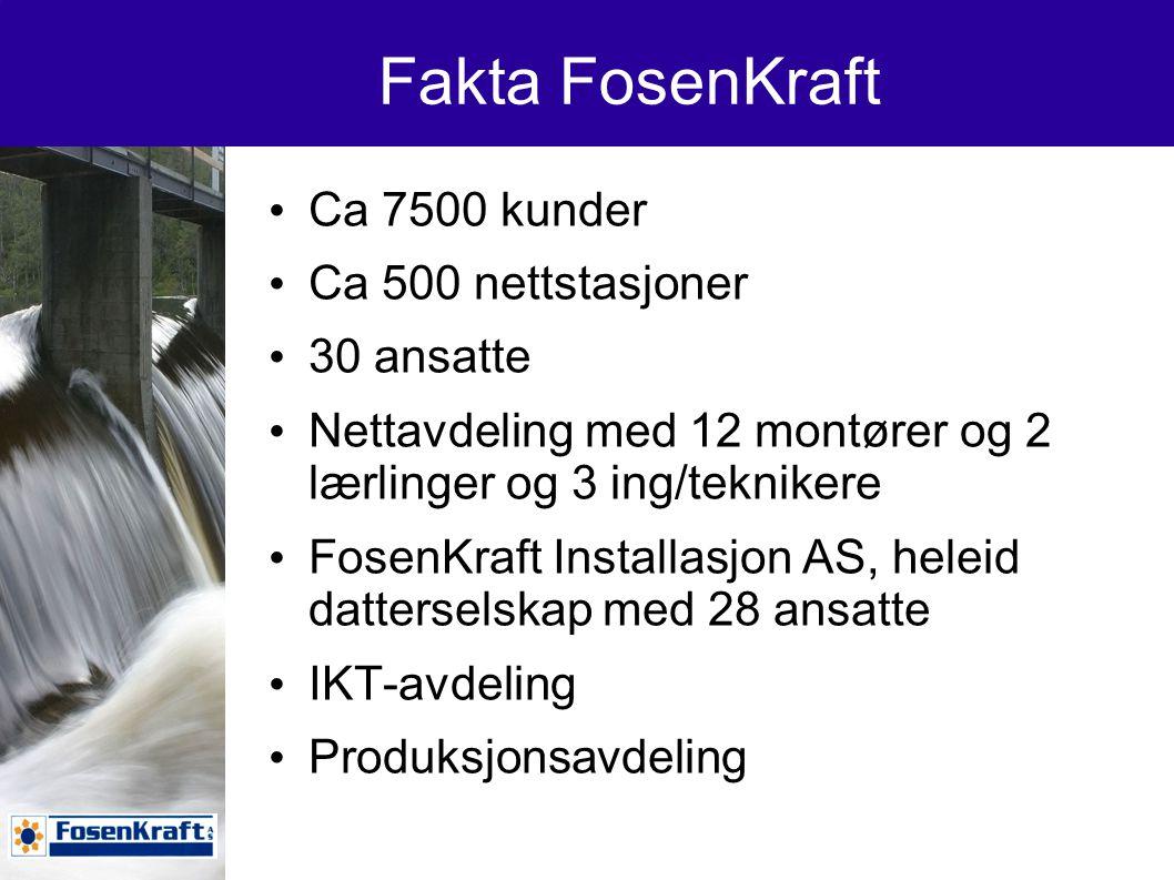 Fakta FosenKraft Ca 7500 kunder Ca 500 nettstasjoner 30 ansatte