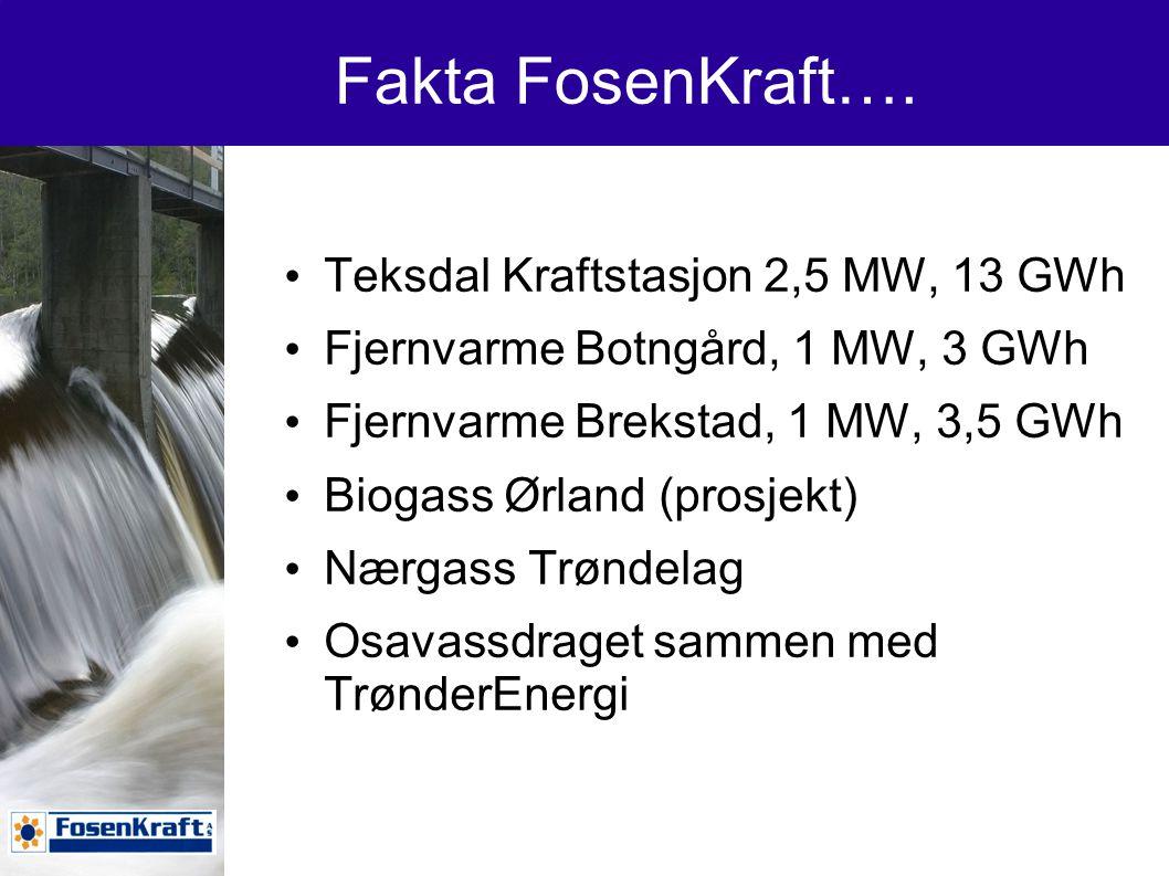 Fakta FosenKraft…. Teksdal Kraftstasjon 2,5 MW, 13 GWh