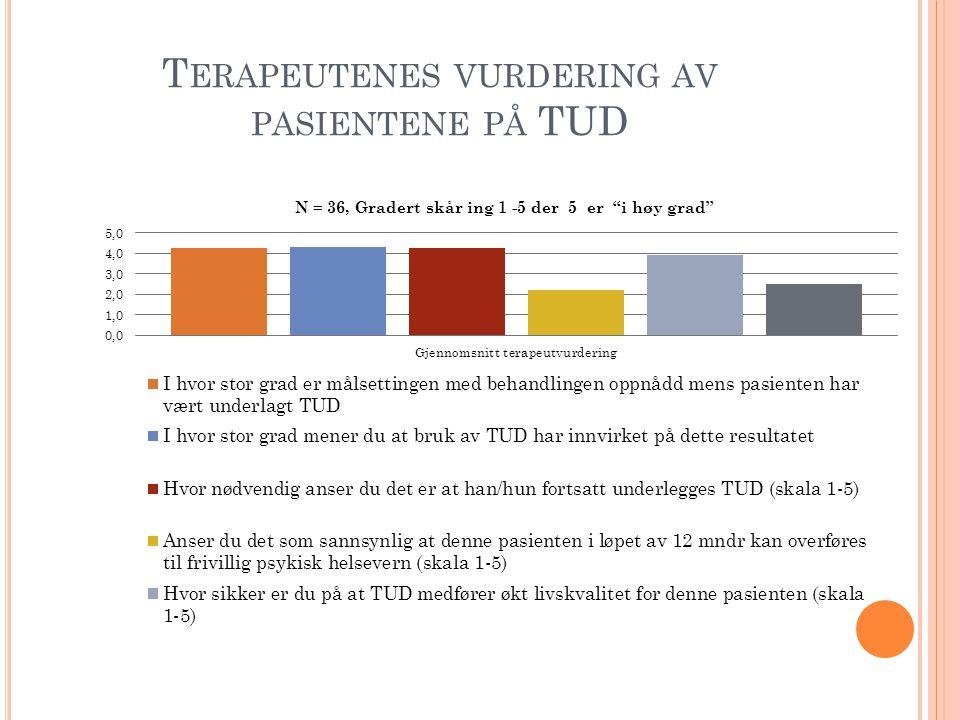 Terapeutenes vurdering av pasientene på TUD
