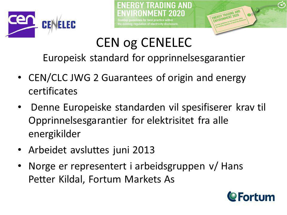 CEN og CENELEC Europeisk standard for opprinnelsesgarantier