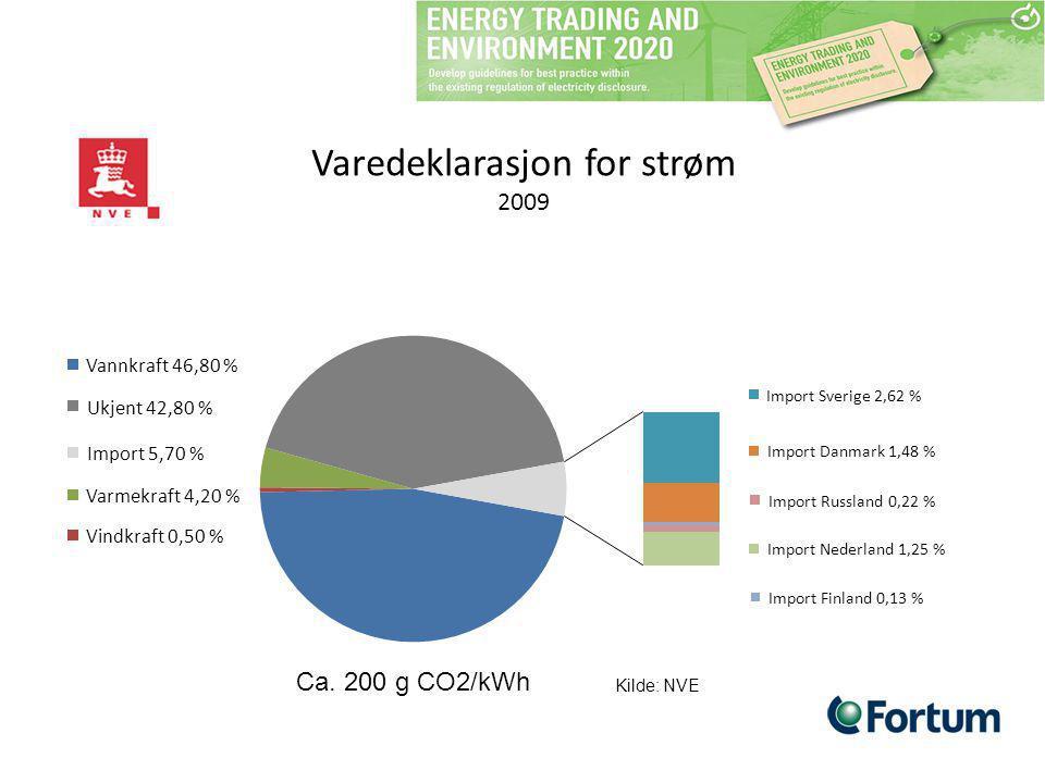 Varedeklarasjon for strøm 2009