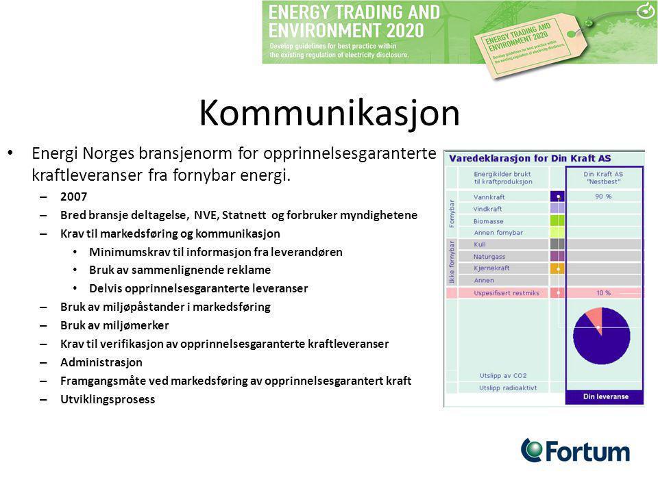 Kommunikasjon Energi Norges bransjenorm for opprinnelsesgaranterte kraftleveranser fra fornybar energi.
