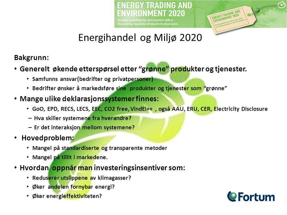 Energihandel og Miljø 2020 Bakgrunn:
