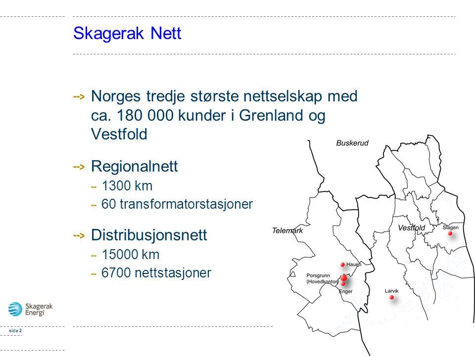Skagerak Nett Norges tredje største nettselskap med ca. 180 000 kunder i Grenland og Vestfold. Regionalnett.