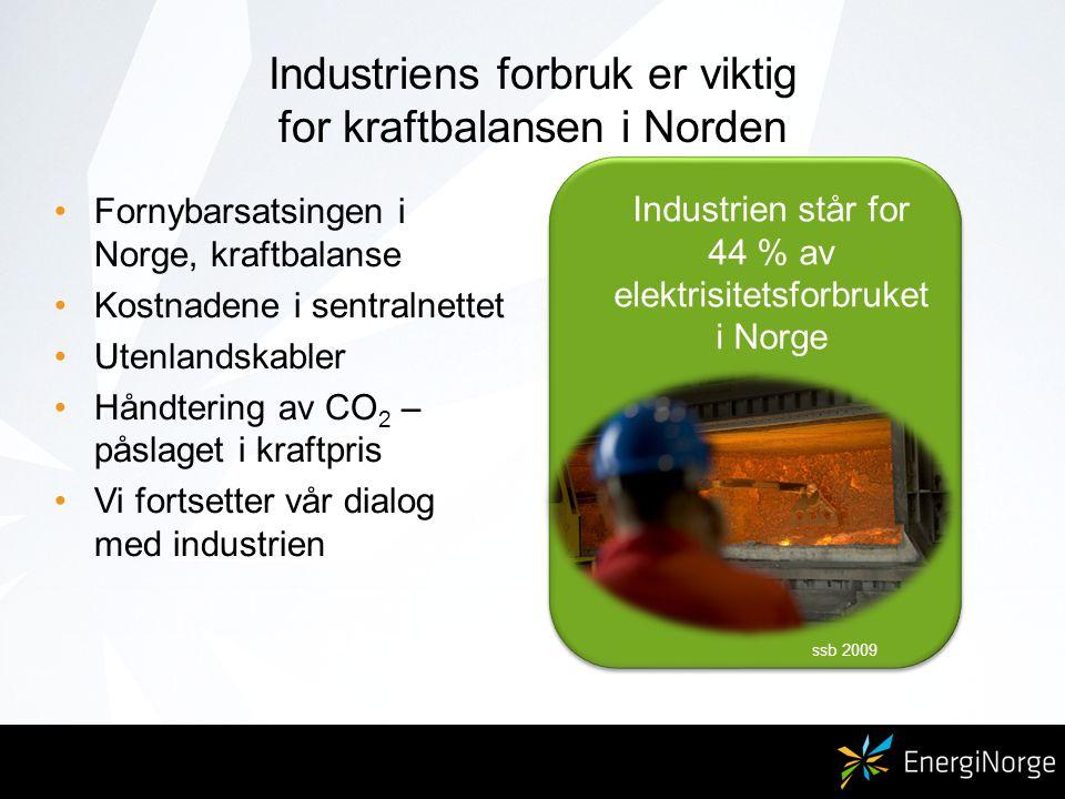 Industriens forbruk er viktig for kraftbalansen i Norden