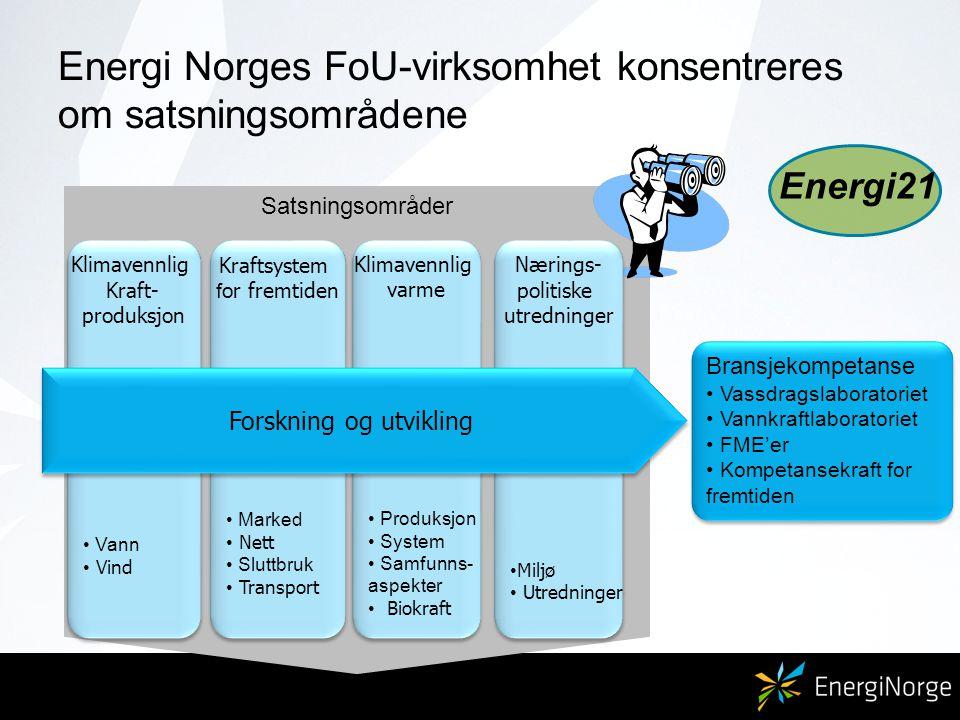 Energi Norges FoU-virksomhet konsentreres om satsningsområdene