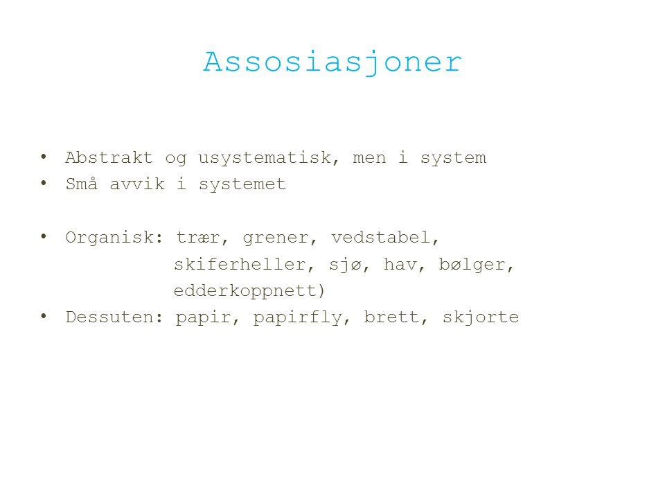Assosiasjoner Abstrakt og usystematisk, men i system