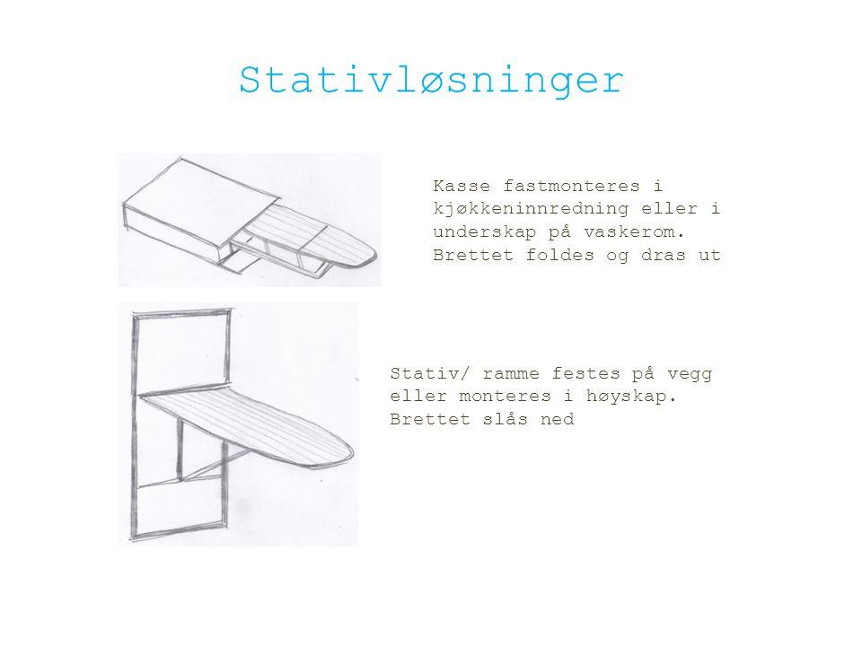 Stativløsninger Kasse fastmonteres i kjøkkeninnredning eller i underskap på vaskerom. Brettet foldes og dras ut.