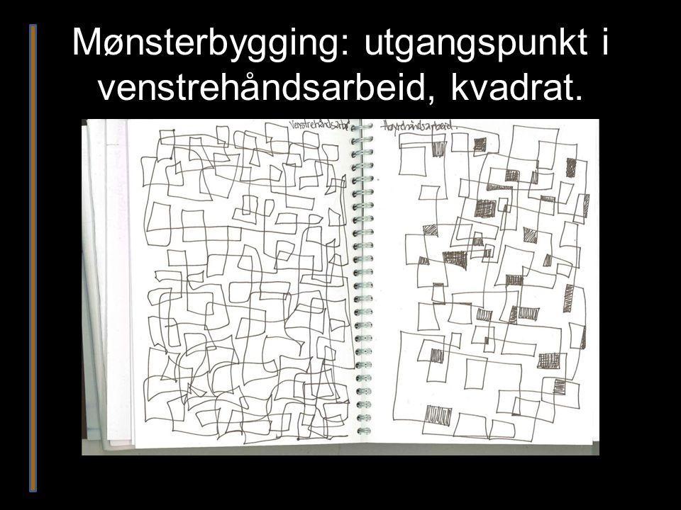 Mønsterbygging: utgangspunkt i venstrehåndsarbeid, kvadrat.