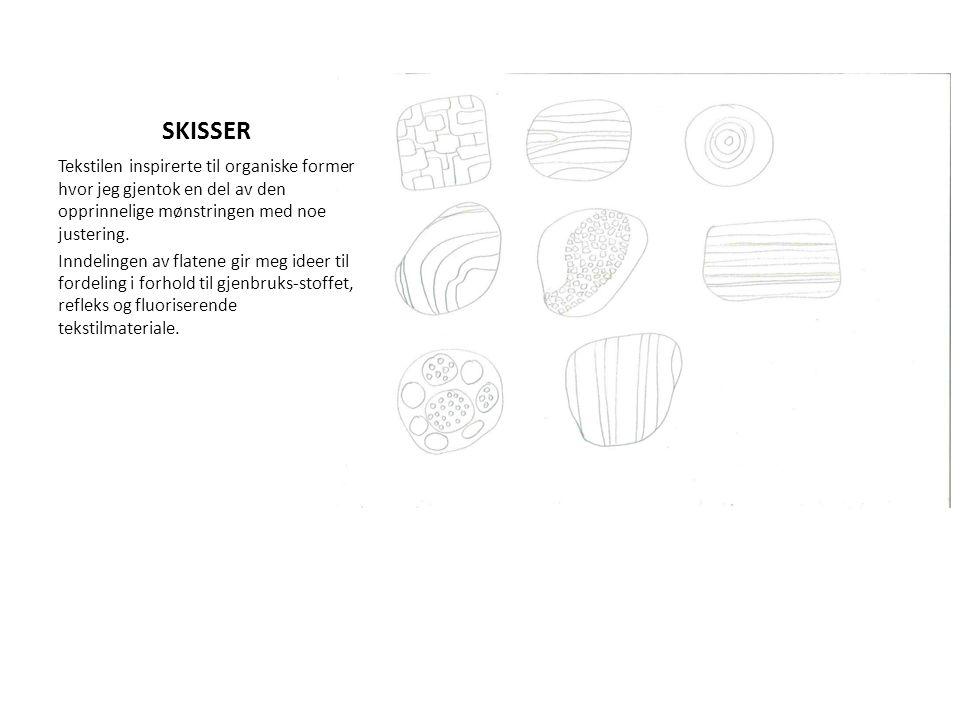 SKISSER Tekstilen inspirerte til organiske former hvor jeg gjentok en del av den opprinnelige mønstringen med noe justering.