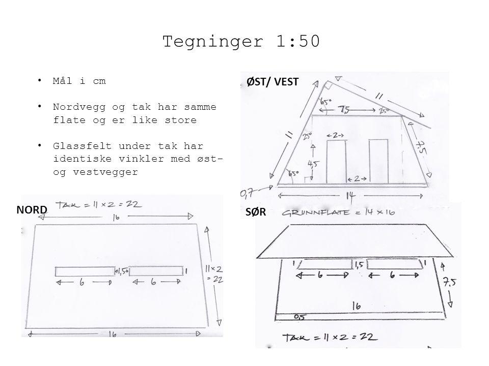 Tegninger 1:50 ØST/ VEST NORD SØR Mål i cm