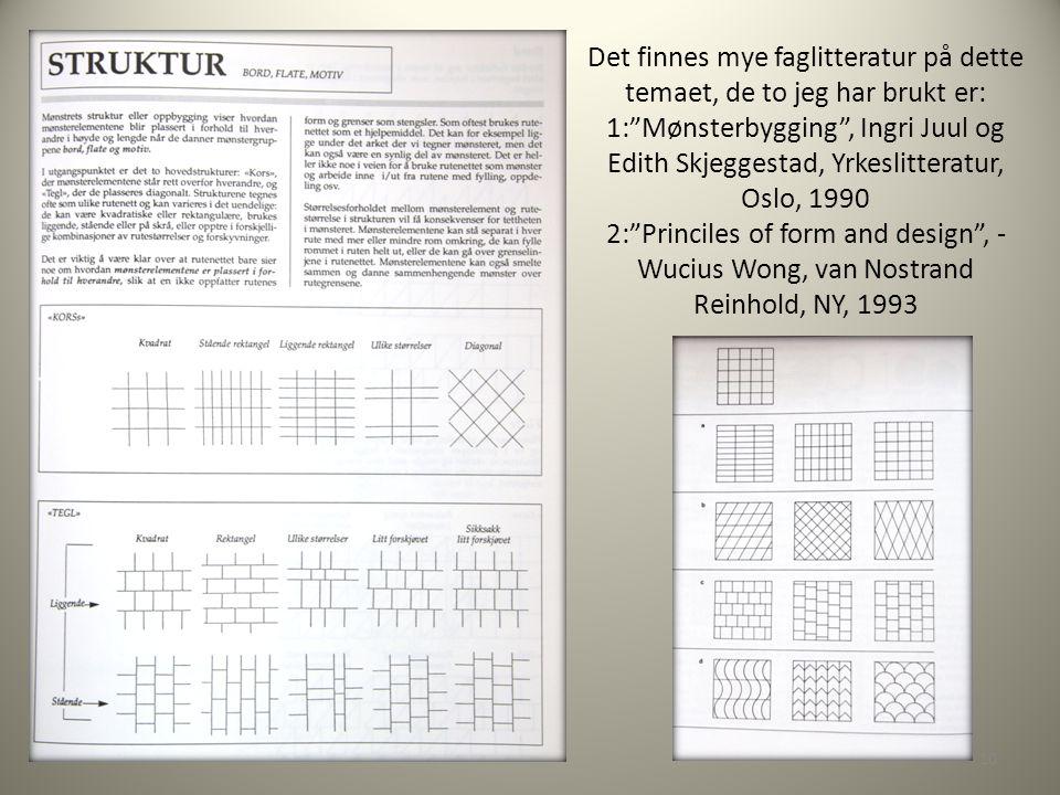 Det finnes mye faglitteratur på dette temaet, de to jeg har brukt er: 1: Mønsterbygging , Ingri Juul og Edith Skjeggestad, Yrkeslitteratur, Oslo, 1990 2: Princiles of form and design , - Wucius Wong, van Nostrand Reinhold, NY, 1993