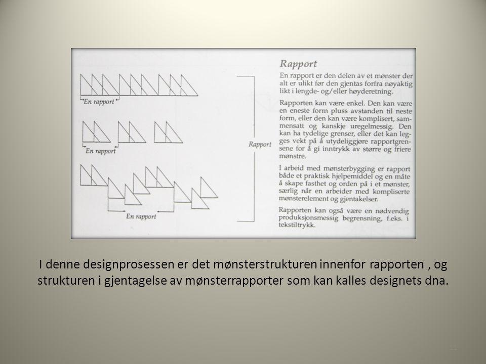 I denne designprosessen er det mønsterstrukturen innenfor rapporten , og strukturen i gjentagelse av mønsterrapporter som kan kalles designets dna.